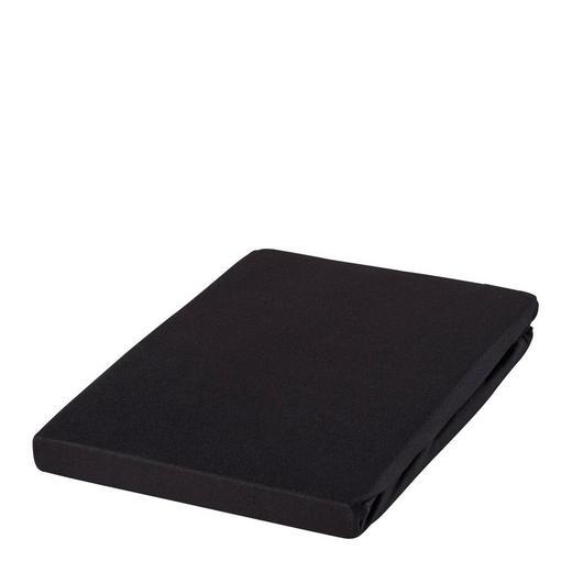SPANNBETTTUCH Zwirn-Jersey Schwarz bügelfrei, für Wasserbetten geeignet - Schwarz, Basics, Textil (150/200cm) - ESTELLA