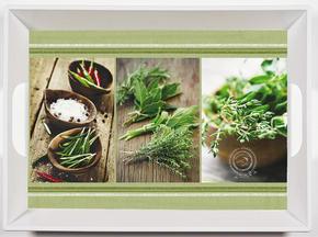 SERVERINGSBRICKA - grön/brun, Klassisk, plast (34,5/46cm) - Homeware