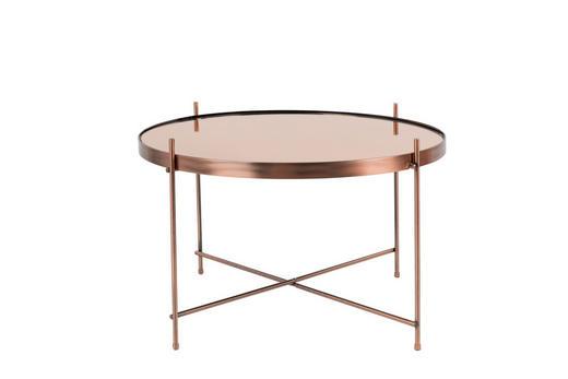 COUCHTISCH rund Kupferfarben - Kupferfarben, Design, Glas/Metall (63/40cm)