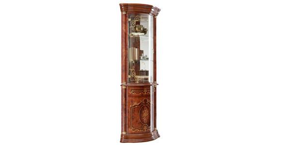 ECKVITRINE in Goldfarben, Nussbaumfarben - Goldfarben/Nussbaumfarben, LIFESTYLE, Glas/Holzwerkstoff (56/205/56cm) - Cantus