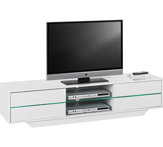TV DÍL, bílá - bílá, Design, kompozitní dřevo/sklo (160/36/40cm)