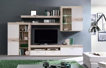REGAL ZA DNEVNI BORAVAK - bijela/siva, Design, staklo/drvni materijal (300/200,9/41/38,8cm) - Cantus