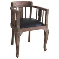 KŘESLO, vzhled kůže, černá, barvy sheesham - černá/barvy sheesham, Trend, dřevo/textil (52/76/46cm) - Ambia Home