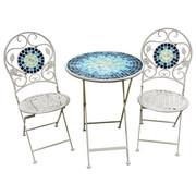 BALKONSET  3-teilig - Blau/Weiß, LIFESTYLE, Glas/Metall (60/41/76/94/60/45cm) - Ambia Garden