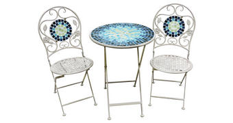 VRTNA GARNITURA - bijela/plava, Lifestyle, staklo/metal (60/41/76/94/60/45cm) - Ambia Garden