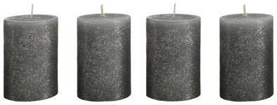 Kerzenset Lenja 7x10 cm - 4er Set - Grau, KONVENTIONELL (7/10cm) - Ombra