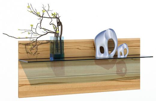 WANDBOARD Glas, Holz Kernbuche massiv Buchefarben - Buchefarben, LIFESTYLE, Glas/Holz (122/49/26cm) - Carryhome