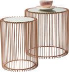 BEISTELLTISCHSET in Kupferfarben - Kupferfarben, Design, Glas/Metall