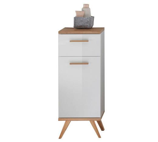 UNTERSCHRANK Weiß  - Eichefarben/Weiß, Design, Glas/Holzwerkstoff (35,5/89,5/33,0cm) - Xora