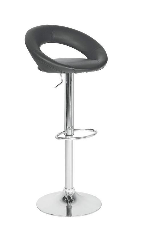 BARHOCKER in Metall, Textil Chromfarben, Schwarz - Chromfarben/Schwarz, Design, Textil/Metall (54/81,5-103,5/50,50cm) - CARRYHOME