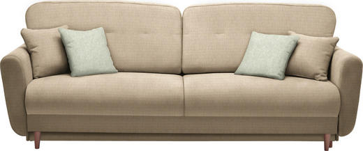 DREISITZER-SOFA Webstoff Beige - Beige/Naturfarben, Design, Holz/Textil (235/87/98cm) - Hom`in