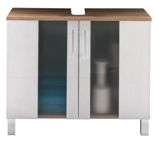 WASCHBECKENUNTERSCHRANK 65/54/31 cm - Chromfarben/Eichefarben, Design, Glas/Holzwerkstoff (65/54/31cm) - Xora