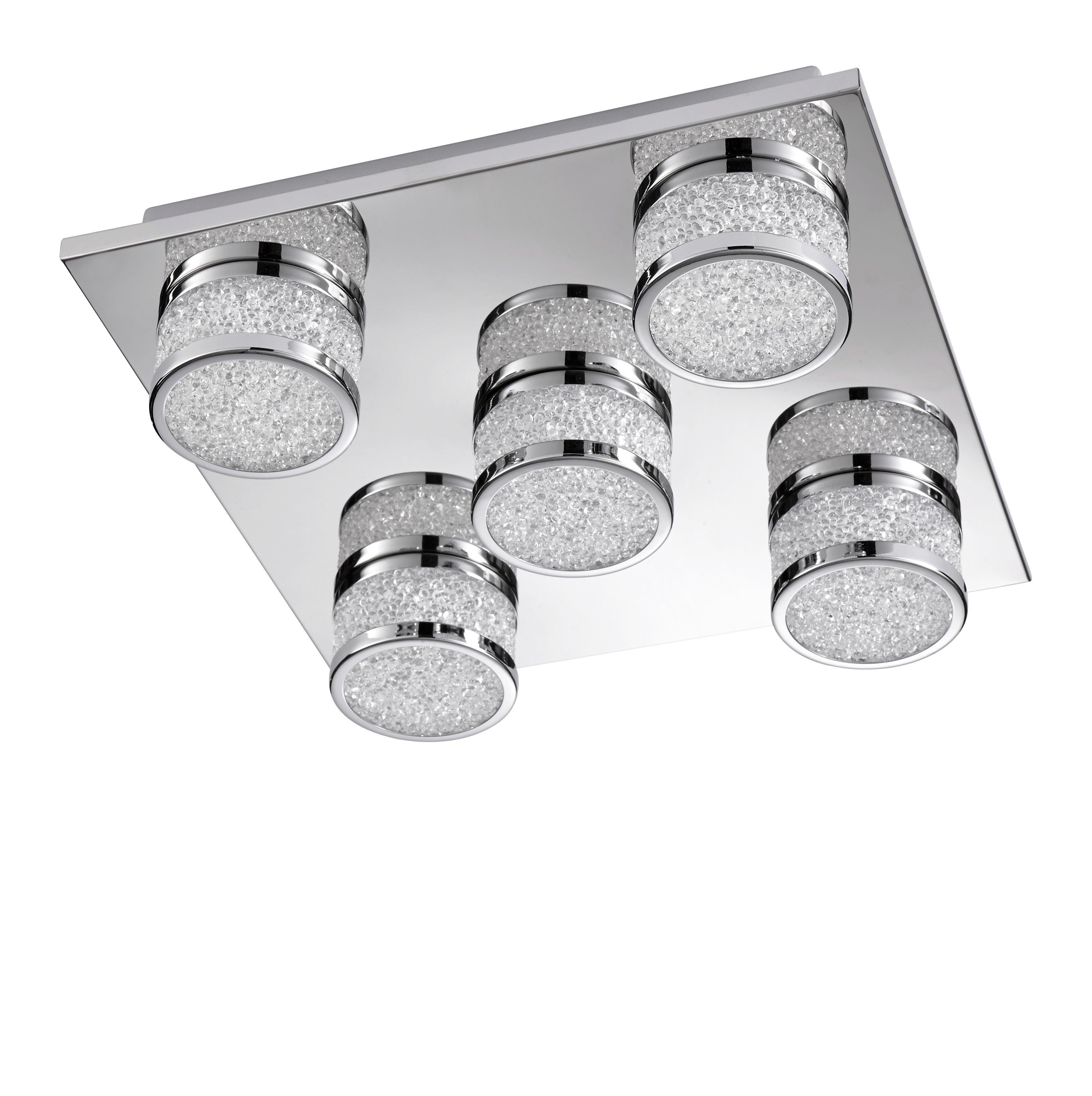 LED STROPNÍ SVÍTIDLO - barvy chromu, Design, kov/umělá hmota (32/9/32cm) - NOVEL