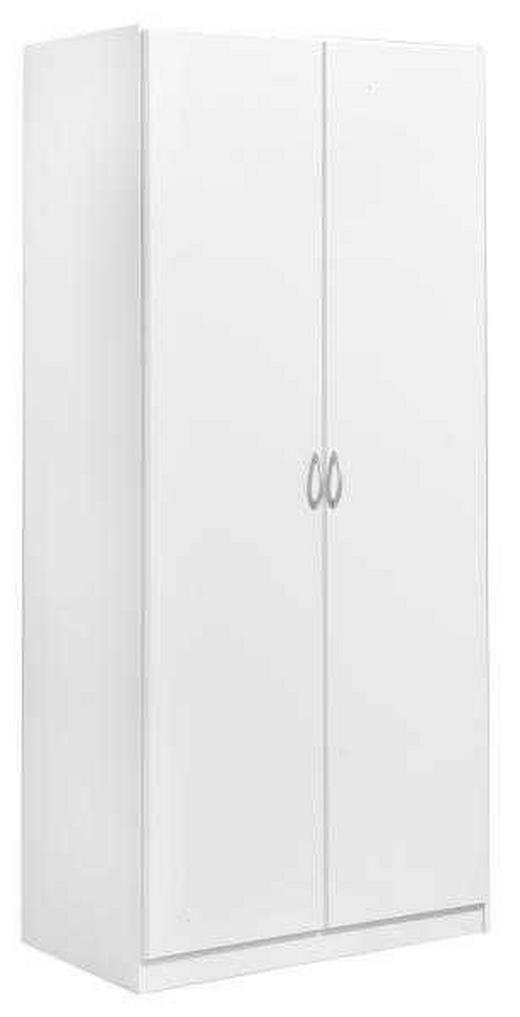 DREHTÜRENSCHRANK 2-türig Weiß - Silberfarben/Weiß, Design, Holzwerkstoff/Kunststoff (91/197/54cm) - Carryhome