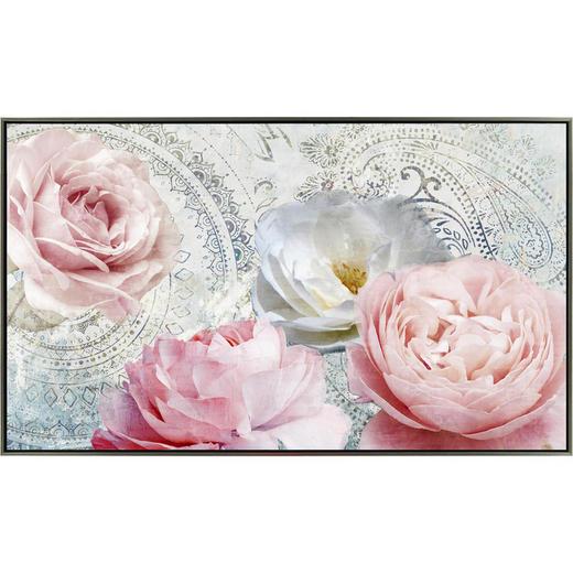 Blumen BILD - Pink/Silberfarben, LIFESTYLE, Holz/Kunststoff (120/70cm) - Monee