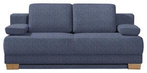 SCHLAFSOFA in Textil Blau  - Blau/Eichefarben, KONVENTIONELL, Holz/Textil (200/95/101cm) - Venda