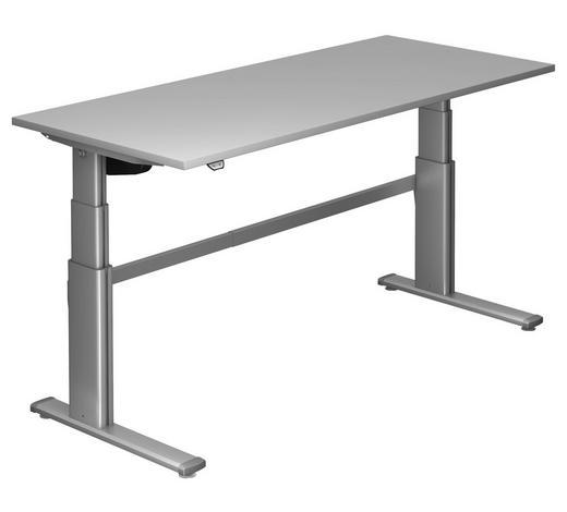 SCHREIBTISCH - Silberfarben/Grau, Design, Holzwerkstoff/Metall (180/66-130/80cm)