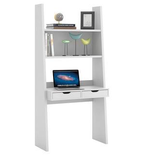 PSACÍ STŮL S REGÁLEM - bílá, Design, dřevěný materiál (90/186/46cm) - CARRYHOME