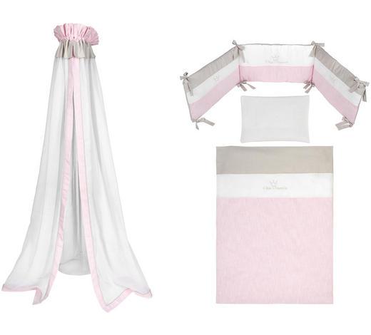 GITTERBETTSET 4-teilig Prinzessin  - Rosa/Weiß, Basics, Textil