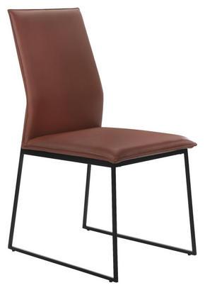 STOL - beige/brun, Design, metall/läder (47,5/97/59,5cm)