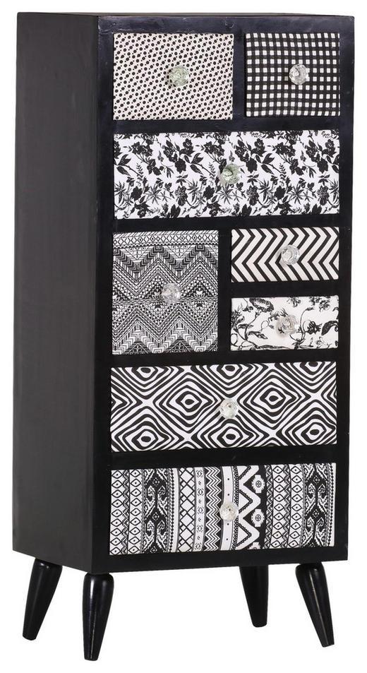 KOMMODE Mangoholz teilmassiv Schwarz - Klar/Silberfarben, Design, Glas/Holz (45/105/37cm) - Carryhome