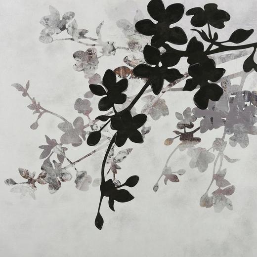 Blätter BILD - Multicolor, Basics, Holz/Textil (100/100cm) - Monee