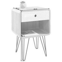 NOĆNI ORMARIĆ - bijela/siva, Design, drvni materijal/metal (40/58/30cm) - Carryhome