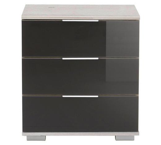 NACHTKÄSTCHEN Grau, Weiß  - Chromfarben/Weiß, Design, Glas/Kunststoff (52/58/38cm) - Carryhome