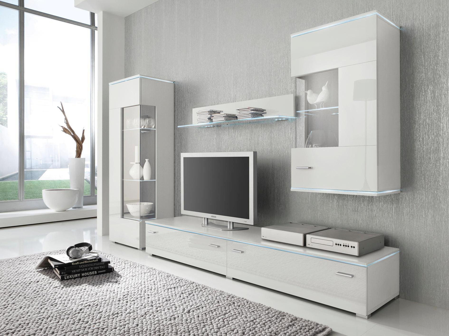 WOHNWAND Weiß   Silberfarben/Weiß, Design, Glas/Kunststoff (230/148