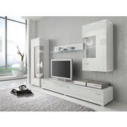 AuBergewohnlich WOHNWAND Weiß   Silberfarben/Weiß, Design, Glas/Kunststoff (230/148