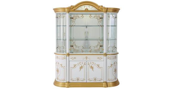 VITRINE in Goldfarben, Nussbaumfarben - Goldfarben/Nussbaumfarben, LIFESTYLE, Glas/Holzwerkstoff (109/212/53cm) - Cantus