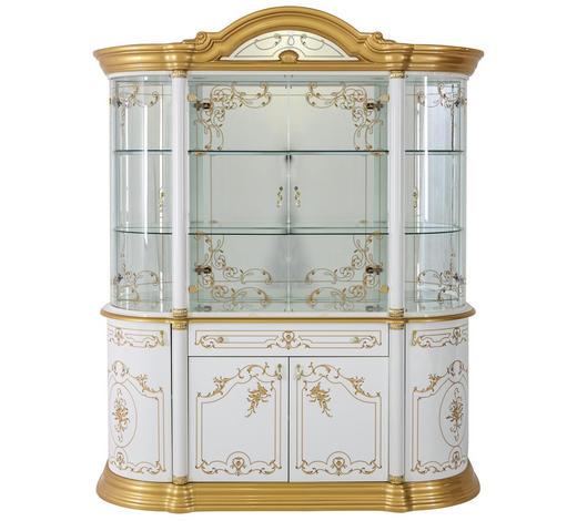 VITRINE  in Nussbaumfarben, Goldfarben - Goldfarben/Nussbaumfarben, LIFESTYLE, Glas/Holzwerkstoff (109/212/53cm) - Cantus
