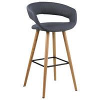 BAROVÁ ŽIDLE, tmavě šedá - barvy dubu/tmavě šedá, Design, dřevo/textil (55/98/46,5cm) - Carryhome