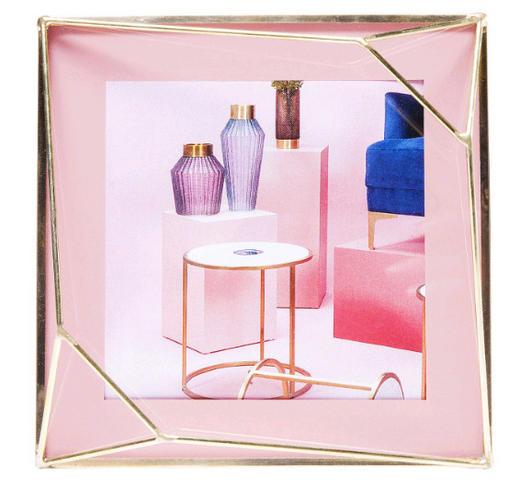 BILDERRAHMEN  Messingfarben, Rosa - Messingfarben/Rosa, MODERN, Glas/Metall (13,6/13,6/3,5cm) - Kare-Design