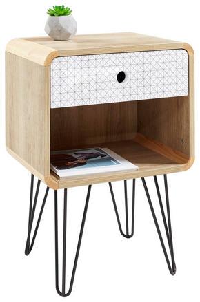 SÄNGBORD - vit/grå, Design, metall/träbaserade material (40/58/30cm) - Carryhome