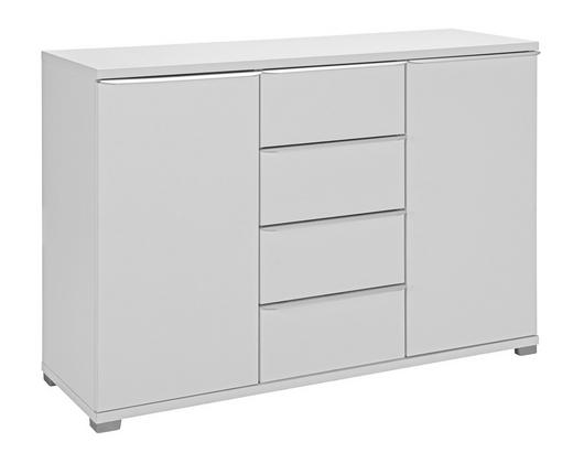 KOMMODE - Alufarben/Weiß, Design, Holzwerkstoff/Metall (120/80/40cm) - Moderano