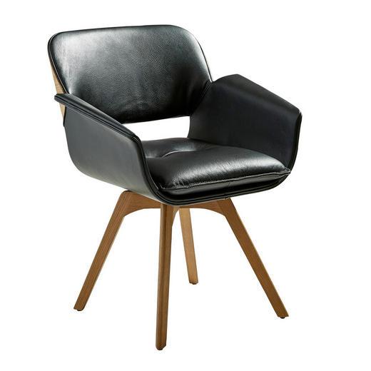 ARMLEHNSTUHL in Eichefarben, Schwarz - Eichefarben/Schwarz, Design, Leder/Holz (62,5/81,5/60cm) - Valnatura
