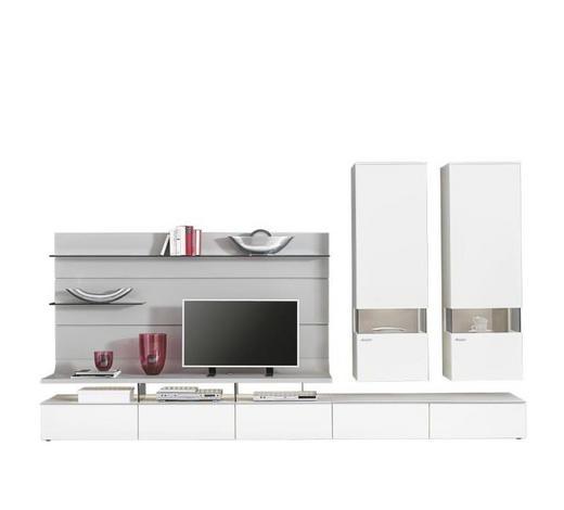 WOHNWAND Eiche furniert Weiß, Eichefarben - Edelstahlfarben/Eichefarben, Design, Glas/Holz (325/205,7/41,2-55,7cm) - Moderano