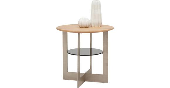 BEISTELLTISCH in Glas, Holz, Holzwerkstoff, Metall  55/53 cm - Eichefarben, Design, Glas/Holz (55/53cm) - Dieter Knoll