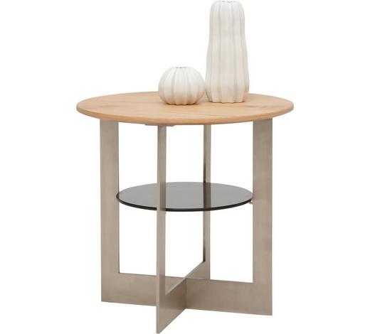 BEISTELLTISCH in Holz, Metall, Glas, Holzwerkstoff  55/53 cm - Eichefarben, Design, Glas/Holz (55/53cm) - Dieter Knoll