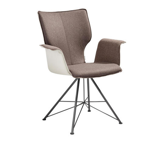 ARMLEHNSTUHL in Anthrazit, Taupe, Hellbraun - Taupe/Hellbraun, Design, Leder/Textil (69/91/60cm) - Bert Plantagie