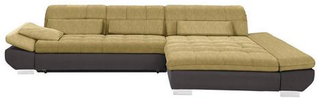 WOHNLANDSCHAFT in Textil Braun, Gelb - Chromfarben/Gelb, Design, Kunststoff/Textil (341/204cm) - Xora