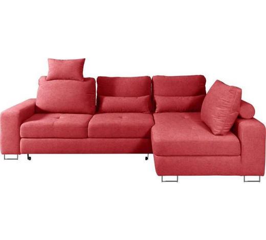 WOHNLANDSCHAFT in Textil Dunkelrot - Dunkelrot, Design, Textil/Metall (260/188cm) - Hom`in