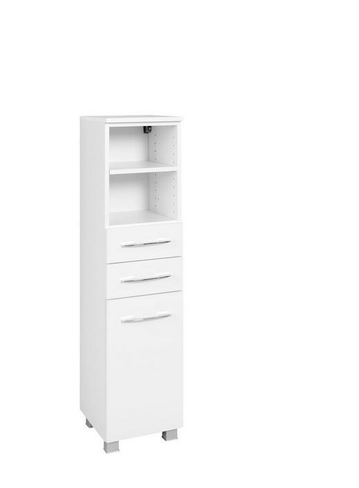 MIDISCHRANK Weiß - Chromfarben/Silberfarben, Design, Holzwerkstoff/Metall (45/122/35cm) - Carryhome