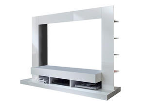 MEDIABÄNK - vit, Modern, träbaserade material (170/124/46cm)