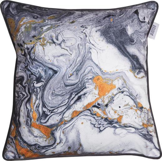 KISSENHÜLLE Creme, Dunkelblau, Grau, Orange 45/45 cm - Creme/Dunkelblau, Textil (45/45cm) - Schöner Wohnen