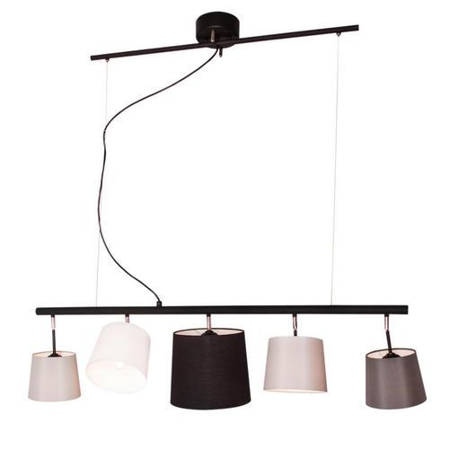 HÄNGELEUCHTE - Schwarz/Weiß, Design, Textil/Metall (23,5/111cm) - By-Rydens