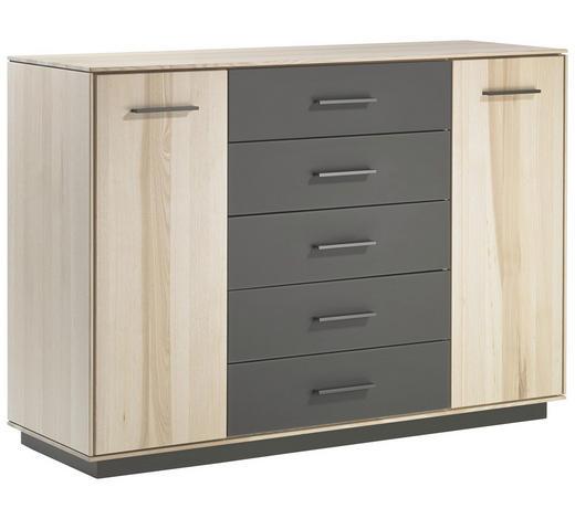 KOMMODE 132,8/93,3/44 cm - Dunkelbraun/Eschefarben, Design, Glas/Holz (132,8/93,3/44cm) - Valdera