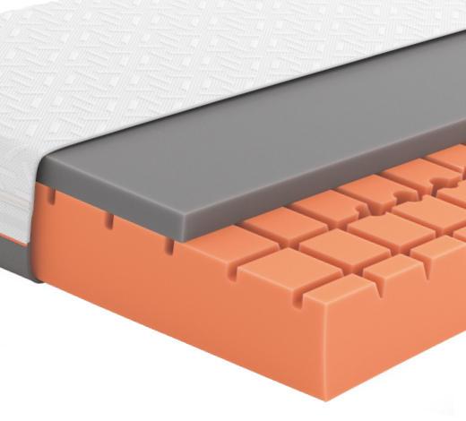 GELSCHAUMMATRATZE Primus 290 180/200 cm 24 cm - Dunkelgrau/Weiß, Basics, Textil (180/200cm) - Schlaraffia