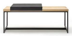 GARDEROBENBANK 125/50/40 cm  - Eichefarben/Anthrazit, Natur, Leder/Holz (125/50/40cm) - Moderano
